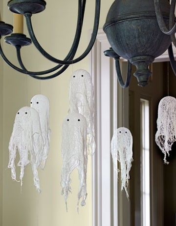 Cheesecloth Ghosts I made these this year and they turned out