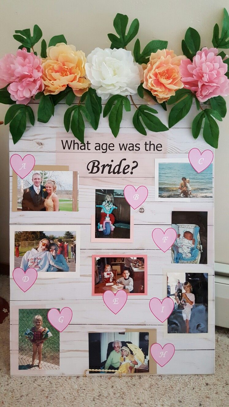 Bridal shower game. What age was the bride? DIY Diy