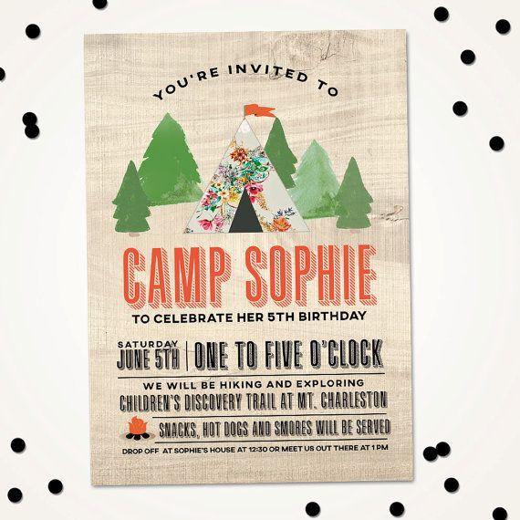 Camping Birthday Invitation Nature Birthday Party Invitation