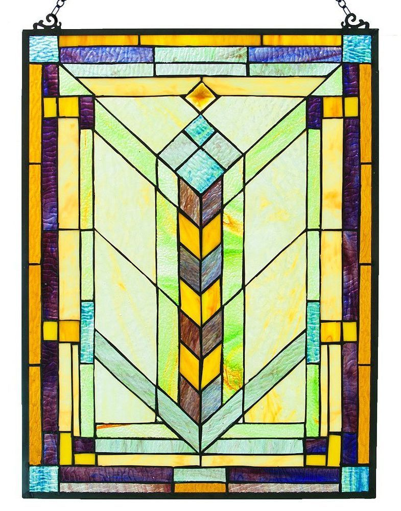 Geometric Decorative Rectangular Stained Glass Hanging Window Panel