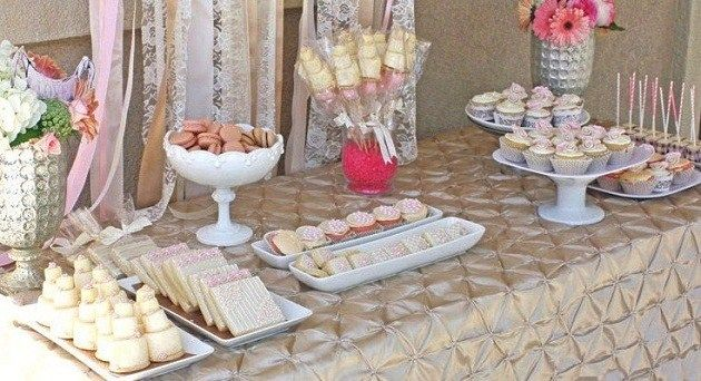 romantic bridal shower dessert table guest feature