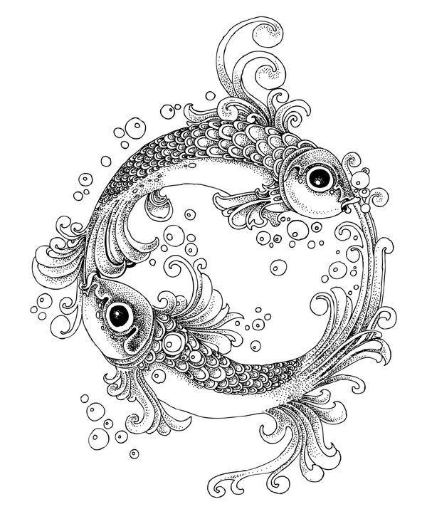 ♓ pisces ♓   Раскраски Рисуки из линий Пуантилизм