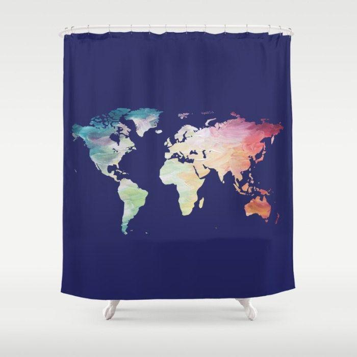 World map shower curtain navy shower curtain map bath decor world map shower curtain navy shower curtain map bath decor painted map shower gumiabroncs Choice Image