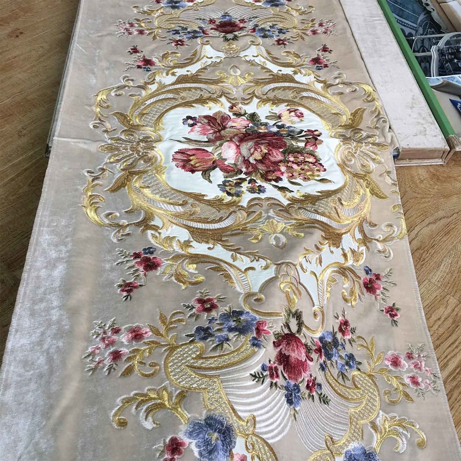 Hot Item Luxury Circle Design Embroidered Velvet Fabric For Sofa Curtain And Upholstery In 2020 Circle Design Upholstery Fabric