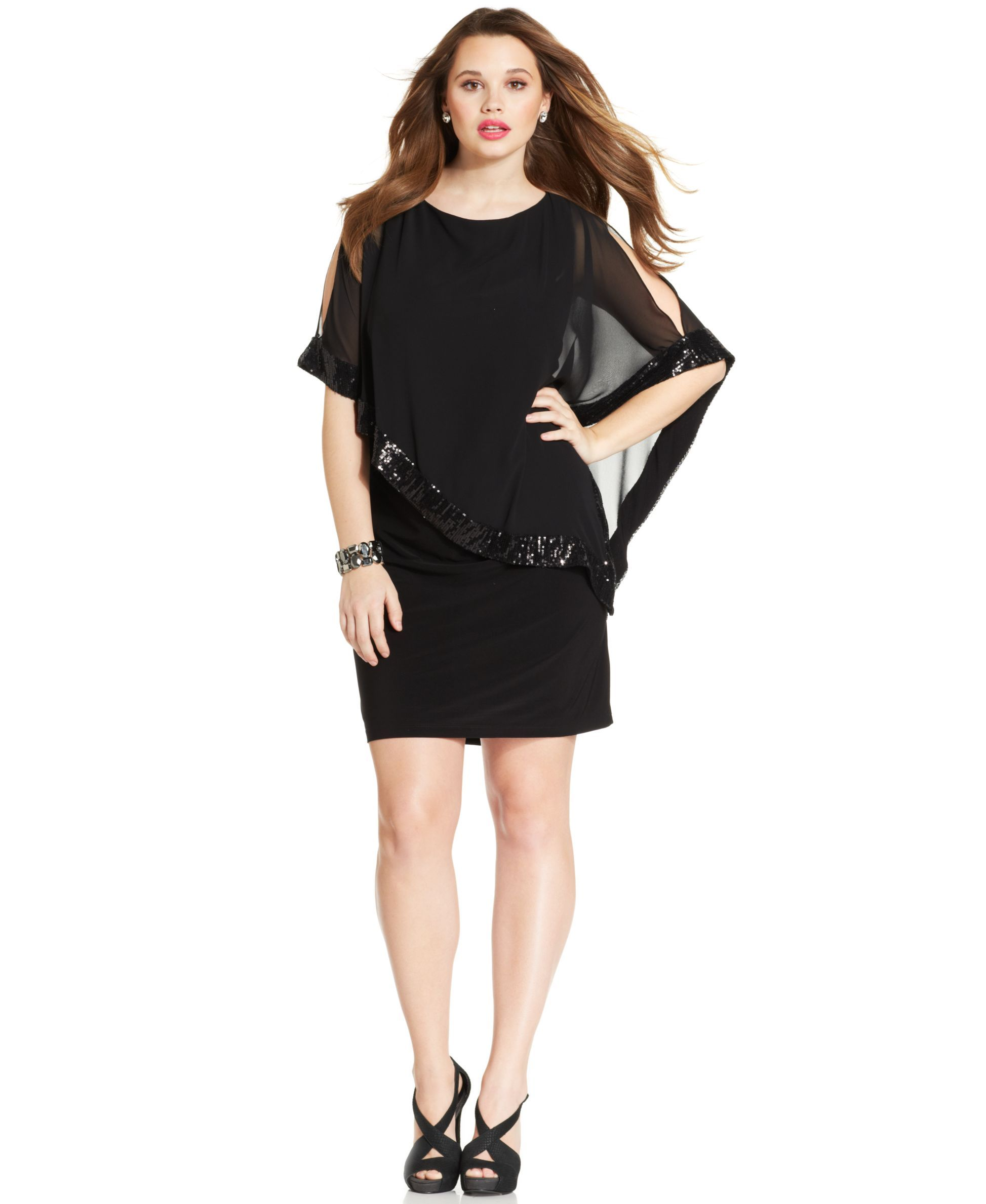 22f577507a5 Xscape Plus Size Sequin-Trim Capelet Dress