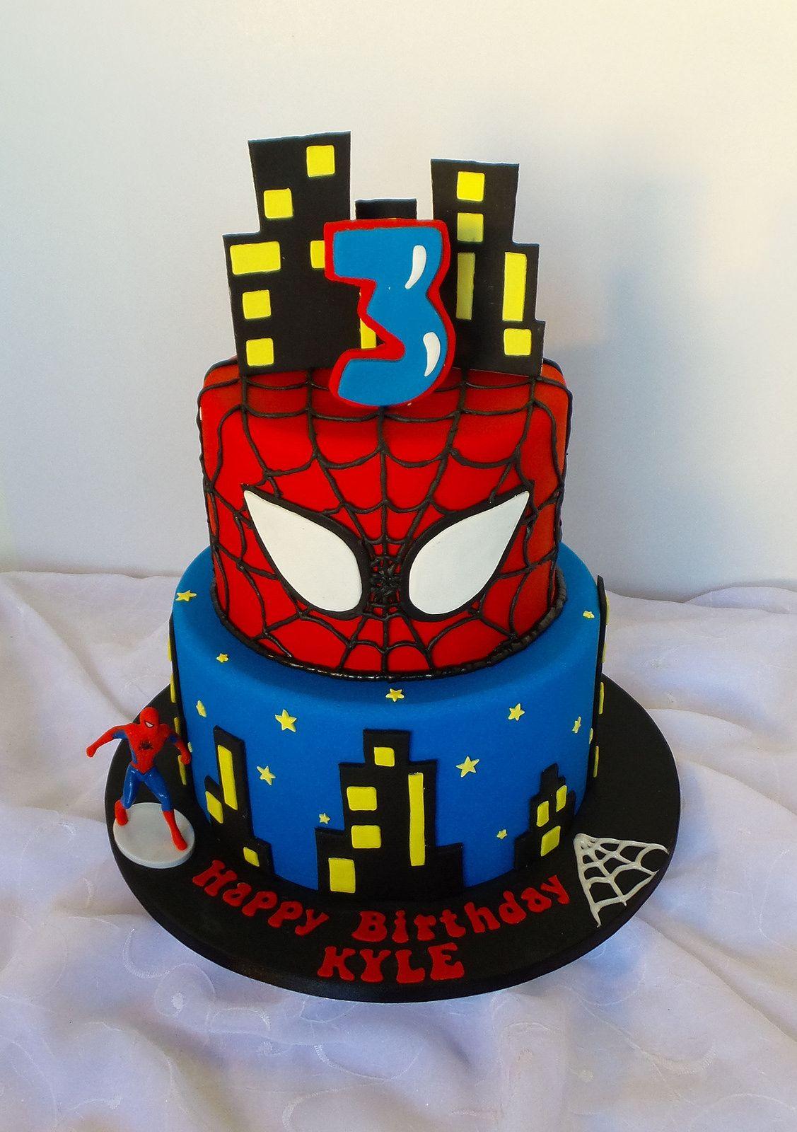 Two Tier Spiderman Themed Birthday Cake Celebrations Pinterest