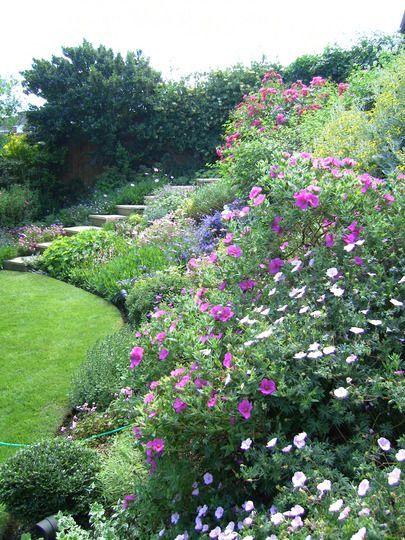 back garden sloping area - Flower Garden Ideas Sloping