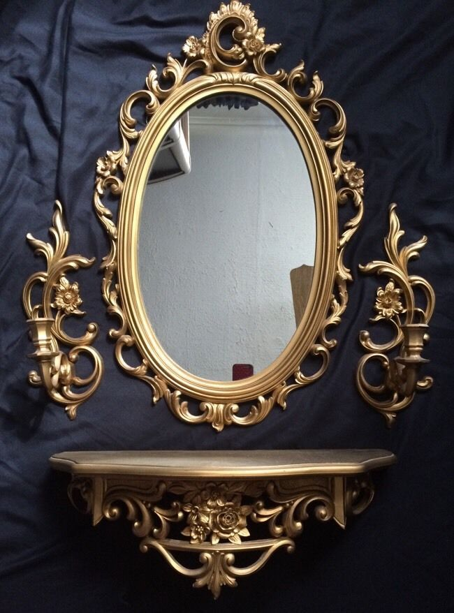 Home Interiors Mirrors | Vtg Gold Hollywood Regency Glam Wall Mirror Shelf Sconce Syroco
