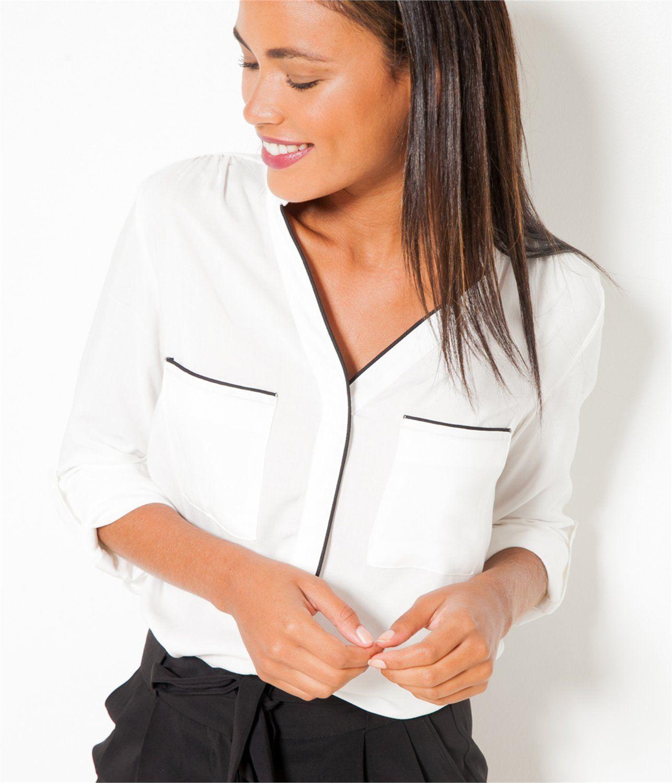 CAMAIEU – Chemisier femme sans col   TShirt   Pinterest   T shirt ... ef5c3502e750