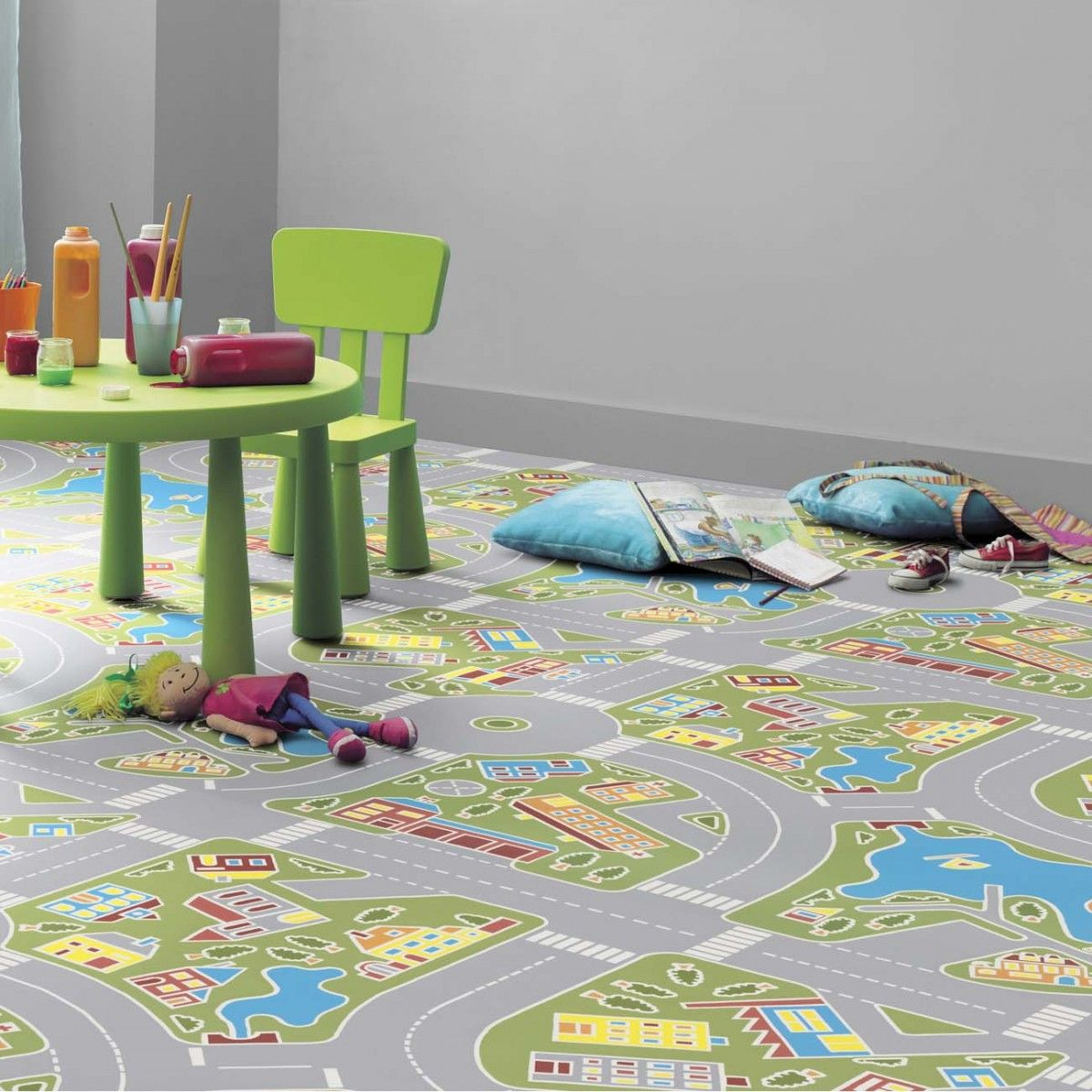 Our Stylish 1603 Track Multicoloured Vinyl Flooring Will Keep Your Kids Entertained For Hours Featuring A System Painted With Primary Colours