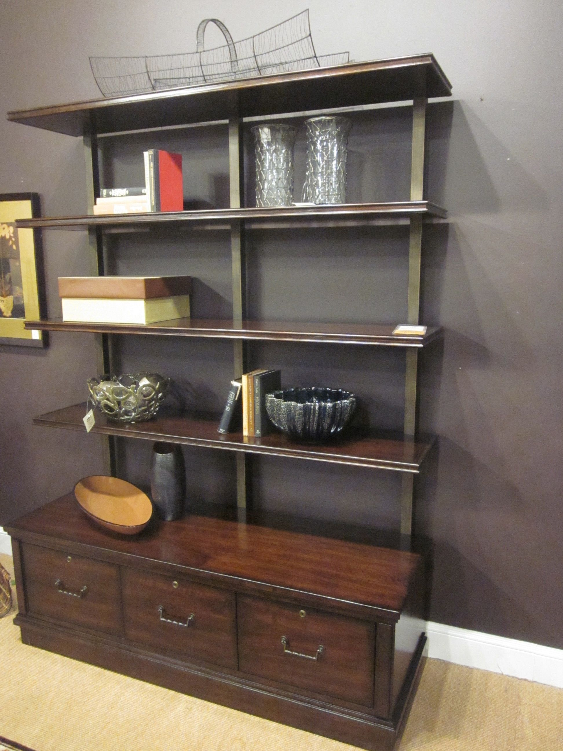 Hooker Furniture Palisade Bookcase in Figured Walnut 3 locking