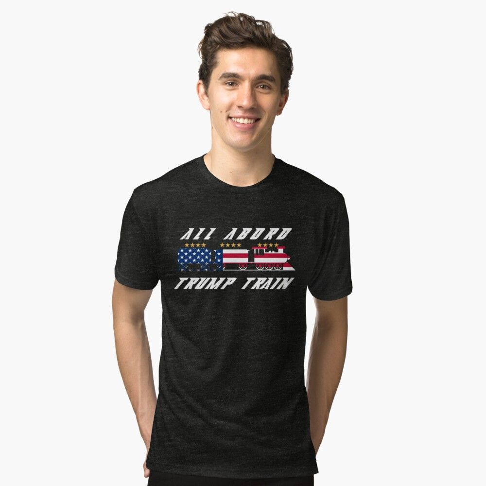 FRONT PRINT ALL ABOARD THE TRAIN REELECT 2020 PRESIDENT DONALD TRUMP 45 SHIRT