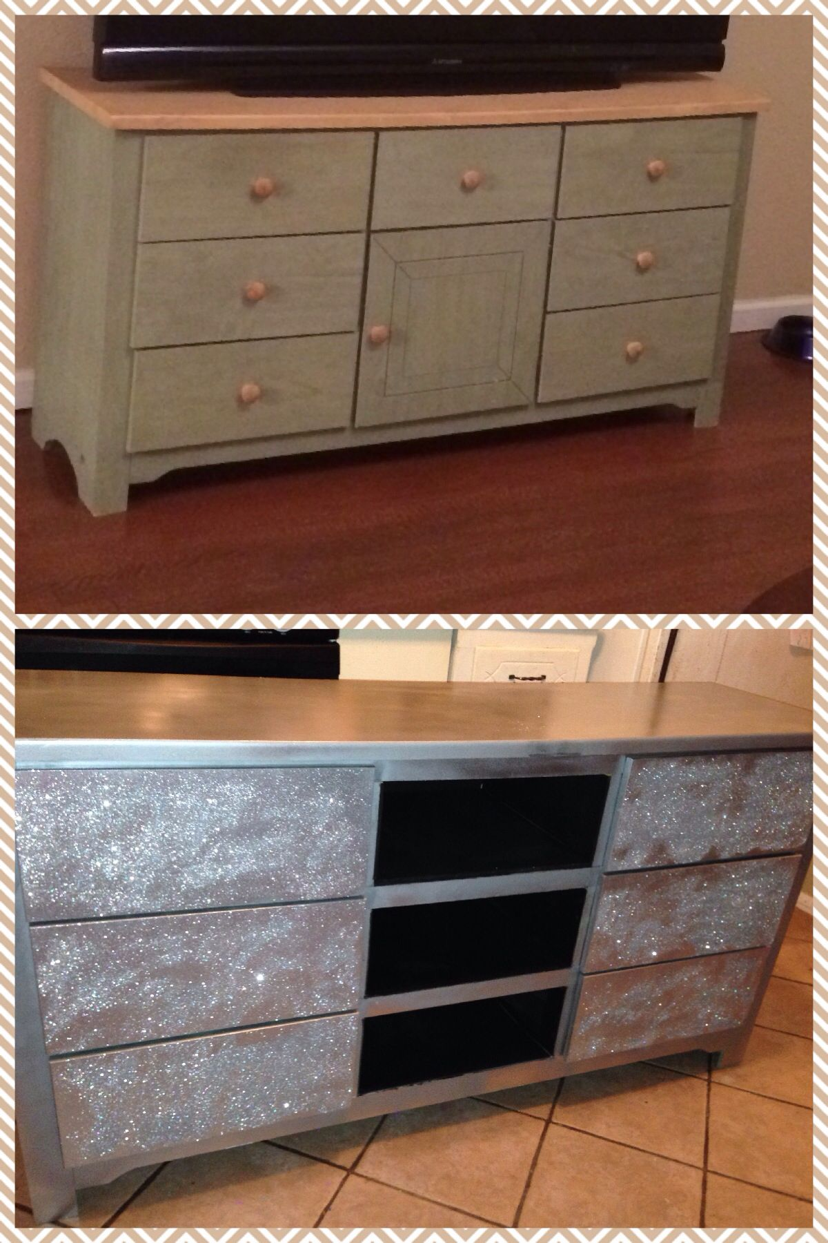 dresser to glittered tv stand