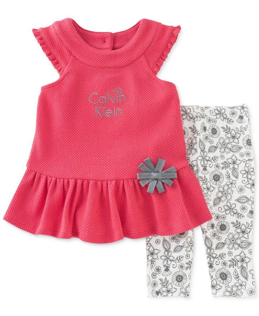 15a89f2706 Calvin Klein Baby Girls  2-Piece Coral Tunic   Floral-Print Leggings ...