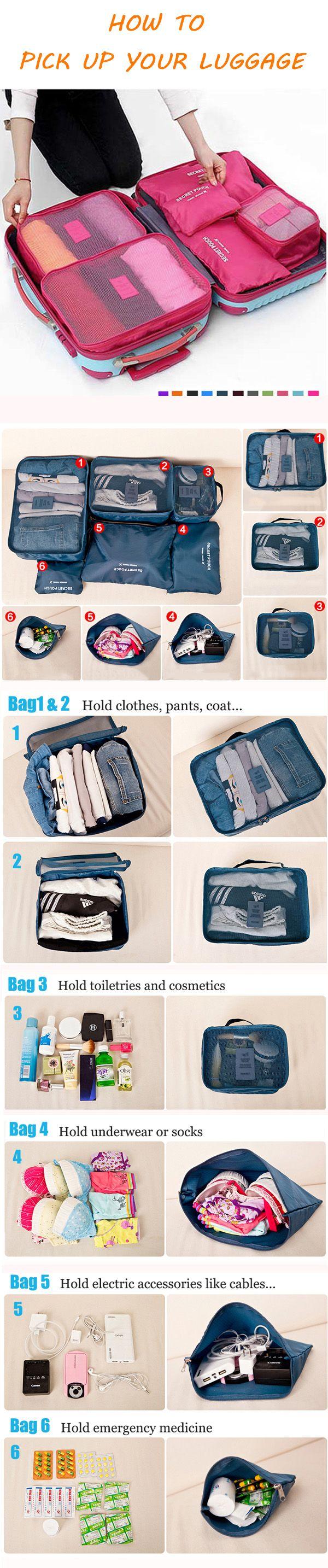 US 9.89  6Pcs Waterproof Cube Travel Storage Bags Clothes Pouch Nylon  Luggage Organizer Travel 845b37e318