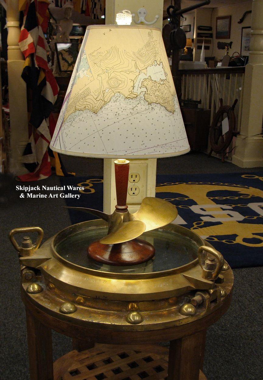 Handsome Nautical Table Lamp Made Using An Authentic Vintage 12 X Nautical Lamps Lighting Lamp Shades Lamp Finials Nautical Coastal Home Decor Nauti