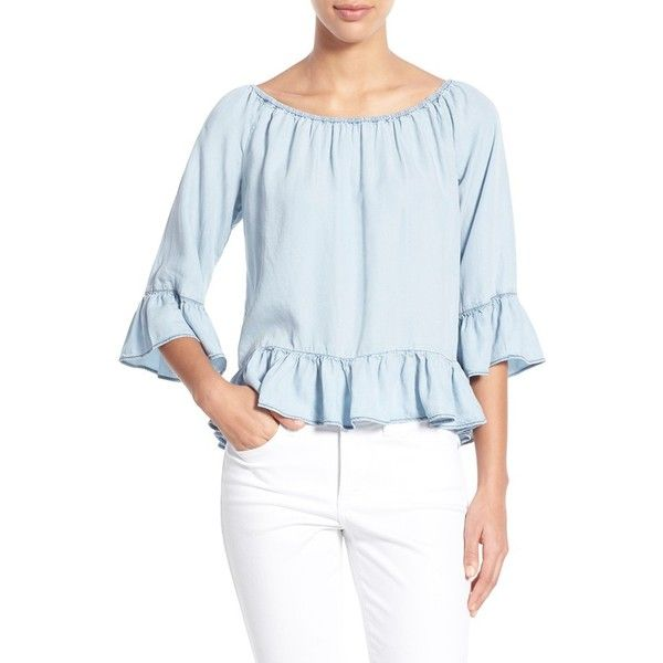 Sanctuary 'Julia' Ruffled Crop Chambray Peasant Top ($89) ❤ liked on Polyvore featuring tops, blouses, kaskade wash, off shoulder tops, blue ruffle blouse, ruffle crop top, off shoulder crop top and peasant tops