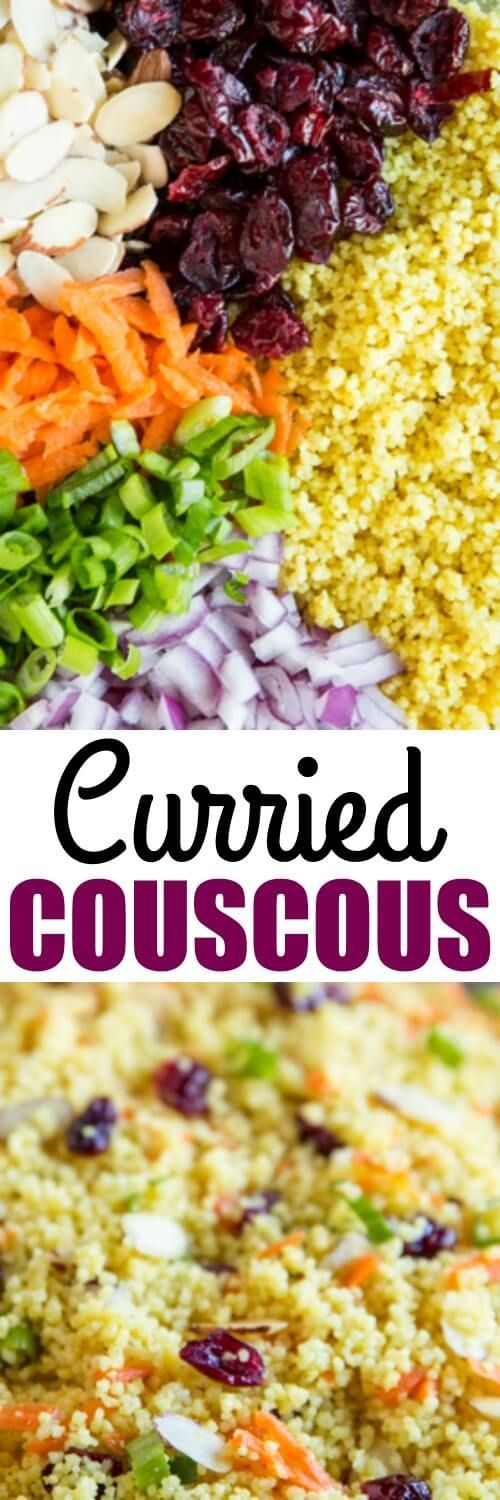 Curried Couscous Salad is as easy as boiling water. Literally! It's also DELICIOUS with sweet, salty, spicy, crunchy, and chewy flavors. via /culinaryhill/