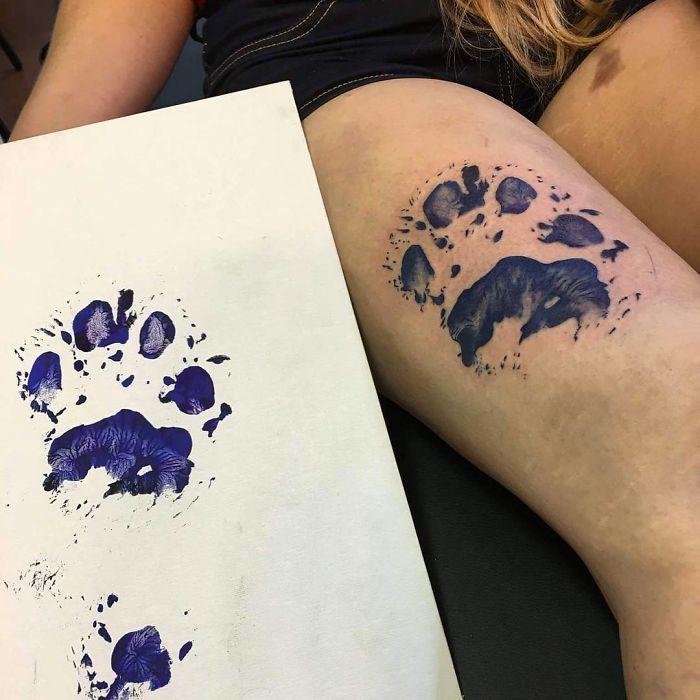 Dog Paw Print Tattoo Writing: Des Tatouages D'empreintes De Pattes De Chiens