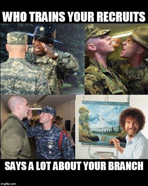Military Meme Branches Training Bob Ross Military Humor Military Jokes Army Humor