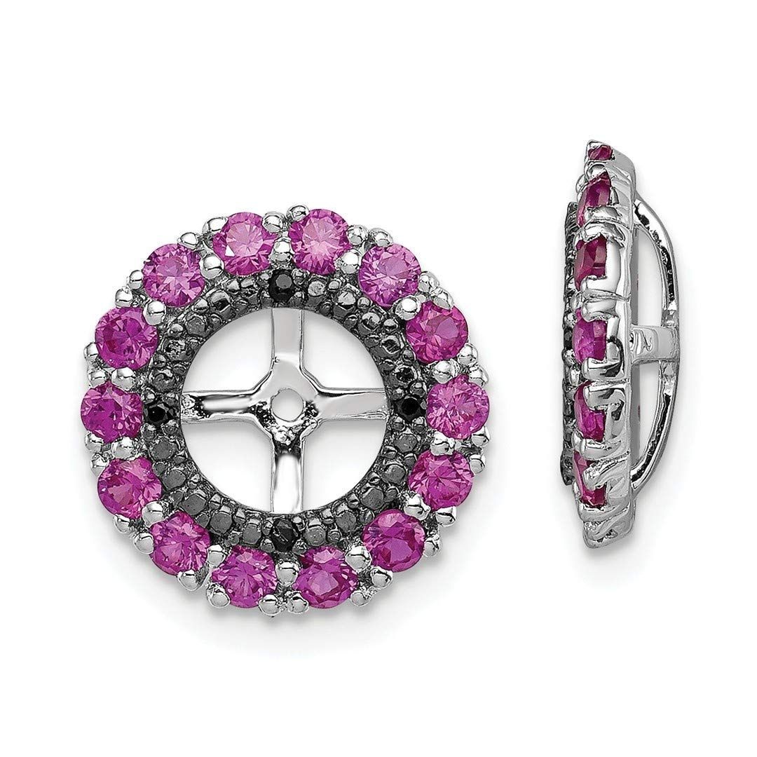 Sterling Silver Created Pink Sapphire /& Black Sapphire Earring Jacket