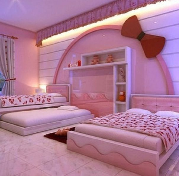 Three Bed Bow Room Hello Kitty Rooms Hello Kitty Bedroom Decor Girls Dream Bedroom Hello kitty bedroom paint concept