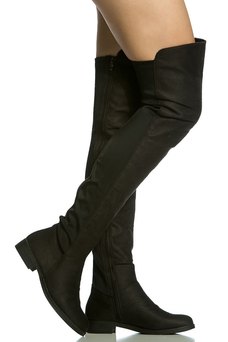 cd70c6adef1 Black Faux Suede Two Toned Thigh High Boots   Cicihot Boots Catalog women s  winter boots
