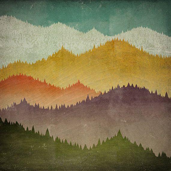 MOUNTAIN VIEW Smoky Mountains Green Mountains Framed Giclee Print ...