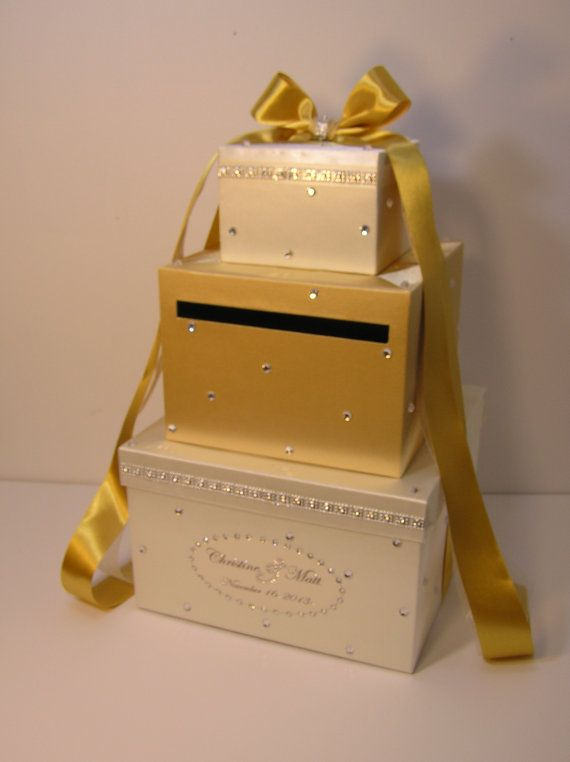 Wedding gift box card holder gold