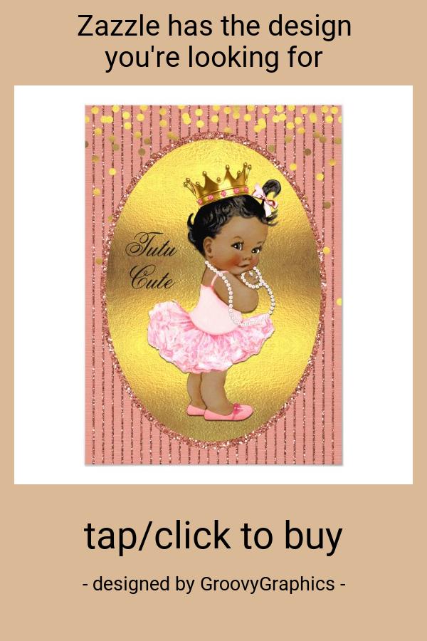 Ethnic Tutu Cute Faux Gold Foil Glitter Confetti Invitation