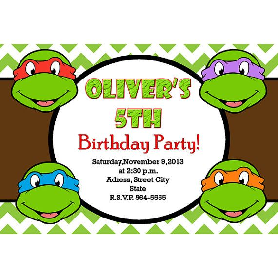 Ninja Turtles Invitation Turtles Birthday Digital File Por