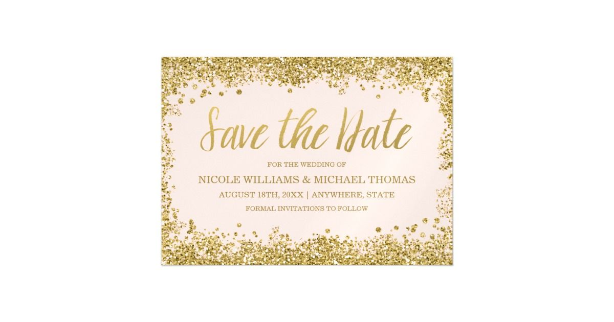 Modern Blush Pink And Gold Faux Glitter Save The Date Magnetic Invitations