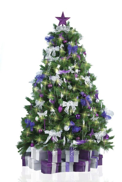 christmas tree decorated in purple and silver - Purple Christmas Tree