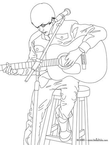Justin Bieber playing guitar coloring page. More famous people ...
