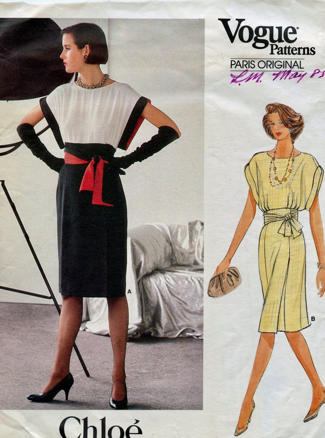 80s VOGUE 1380 DRESS Pattern Cocktail Day Dress Shaped Armholes ...