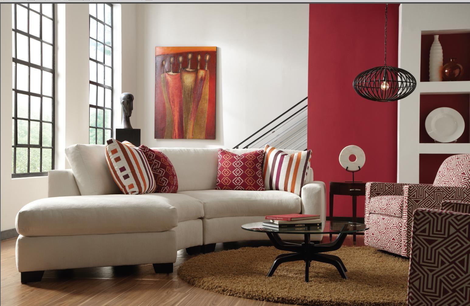 living moderno rojo y blanco - Living Moderno