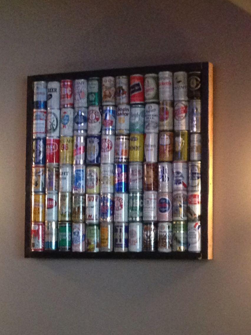 Idea to display beer can collection.   Decorar con latas cerveza ...