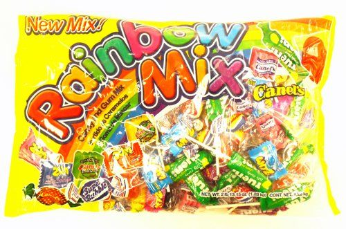 Rainbow Mix is a delicious candy & gum mix, filled with lollipops, hard candies & gum. Its an ideal pinata stuffer or for Halloween treats!  Manufactured by Canel's.