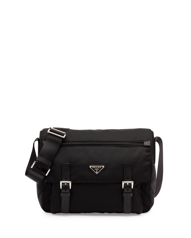 3f1770127e8 Prada Vela Small Double-Pocket Messenger Bag, Black (Nero ...