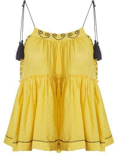 fc2328f27109b Topshop Yellow hanki hem camisole top