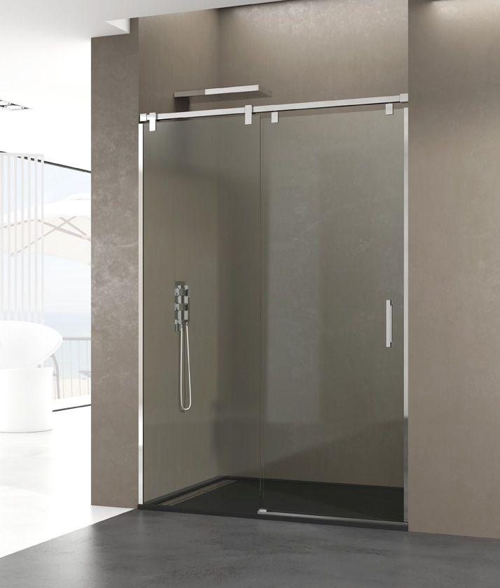 Frontal de ducha modelo futura de fijo mas hoja corredera for Mamparas de ducha correderas sin perfiles