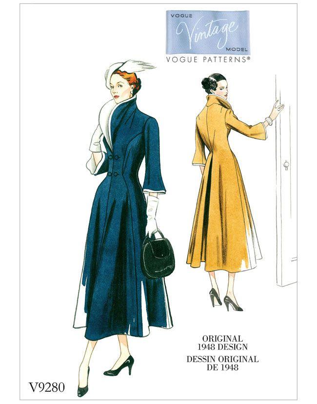 V9280 VOGUE Vintage Schnittmuster Mantel 40er Jahre | schnittmuster ...