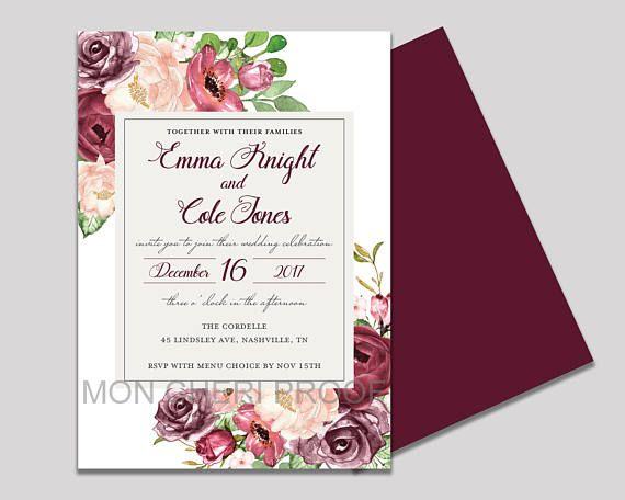Burgundy Blush Fl Wedding Invitation Cranberry