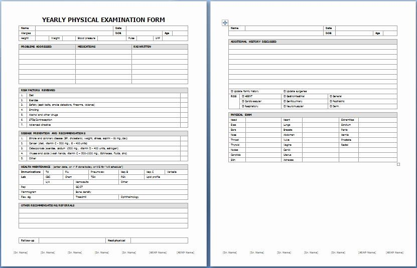 Physical Exam Form Template New Yearly Physical Examination Form