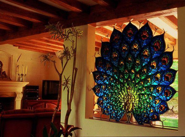 Vitrail sculpture dalle de verre fer forg cr ation for Vitrail decoration