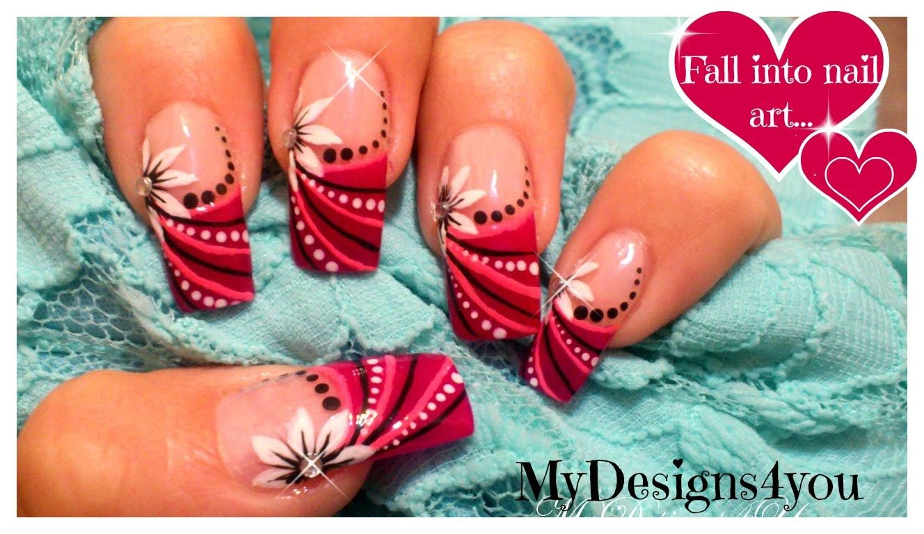 Abstract Floral Nail Art Design | Pink Design for Long Nails ...