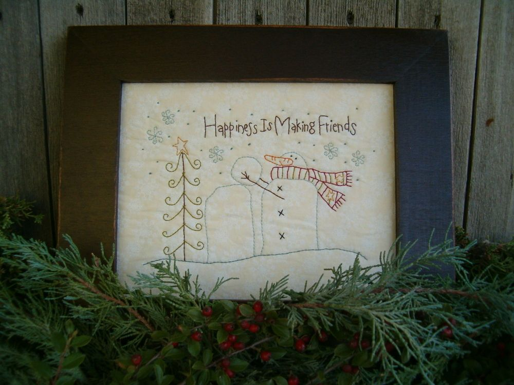 """""""Happiness is Making Friends"""" is a simple embroidery pattern reminding us of our dear friends at the holiday season."""