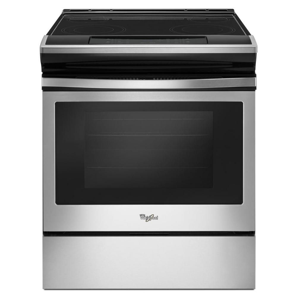 Whirlpool 4 8 Cu Ft Slide In Electric Range In Stainless Steel Wee510s0fs Slide In Range Glass Cooktop Range Cooker