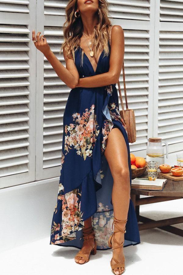Spaghetti Strap Backless High Slit Floral Sleeveless Maxi Dress