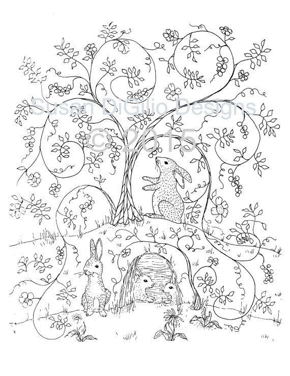 Coloring Page Bunnies In The Bramble Rabbit Bunny Woodland Wall Art Fantasy Folk DIY Instant Download